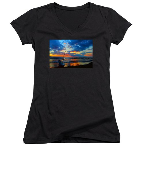 The Hawaiian Sailboat Women's V-Neck T-Shirt (Junior Cut) by Michael Rucker