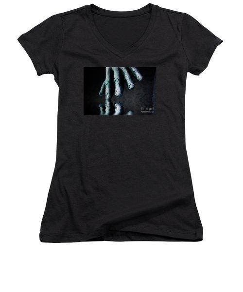 The Healing Touch Women's V-Neck T-Shirt (Junior Cut) by Kym Clarke