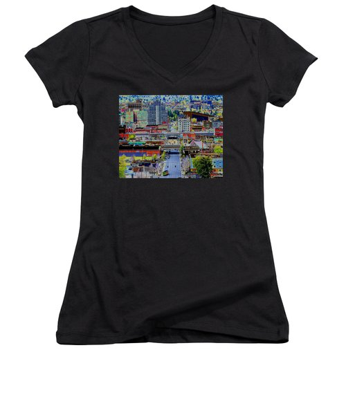 The Heart Of Downtown Spokane  Women's V-Neck