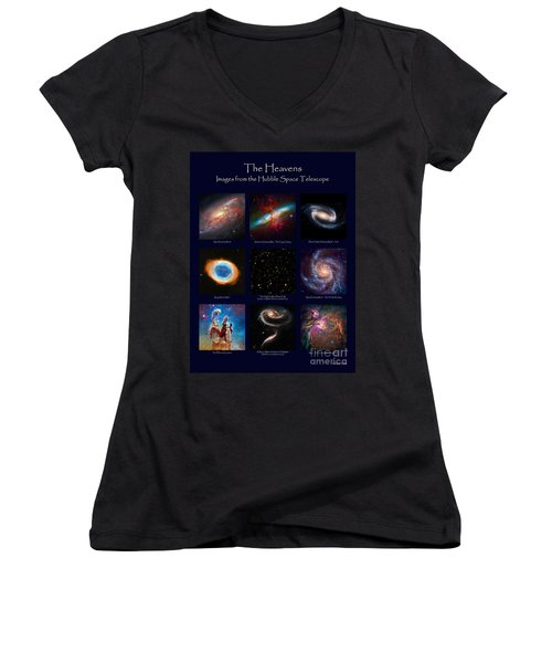 The Heavens - Images From The Hubble Space Telescope Women's V-Neck T-Shirt (Junior Cut) by David Perry Lawrence