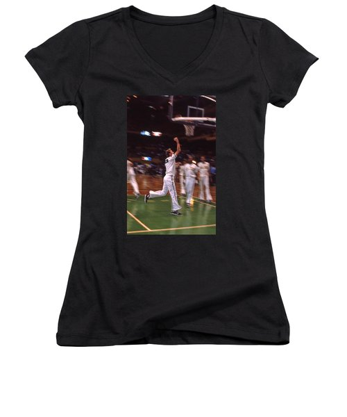 The Hick From French Lick Women's V-Neck T-Shirt (Junior Cut) by Mike Martin