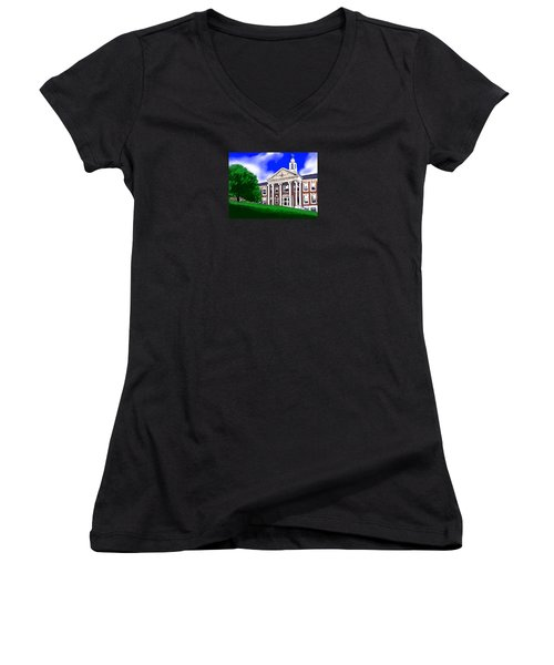 Women's V-Neck T-Shirt (Junior Cut) featuring the painting The Hill by Jean Pacheco Ravinski