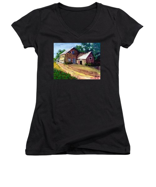 Women's V-Neck T-Shirt (Junior Cut) featuring the painting The House Barn by Jim Phillips