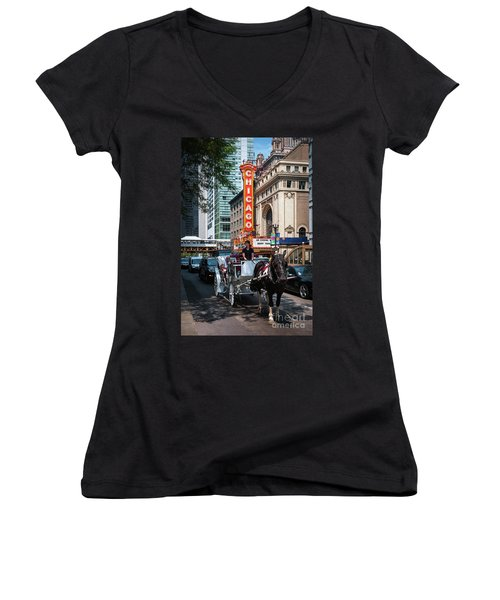 The Iconic Chicago Theater Sign And Traffic On State Street Women's V-Neck