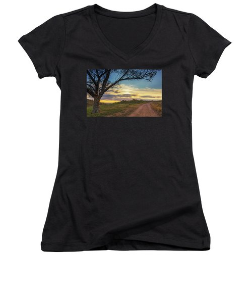 The Journey Home Women's V-Neck T-Shirt (Junior Cut) by Tassanee Angiolillo
