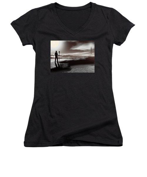 The Journey Women's V-Neck T-Shirt (Junior Cut) by John Alexander