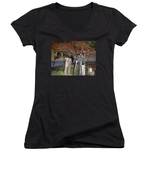 Women's V-Neck T-Shirt (Junior Cut) featuring the photograph The Jumper 2 by Douglas Stucky