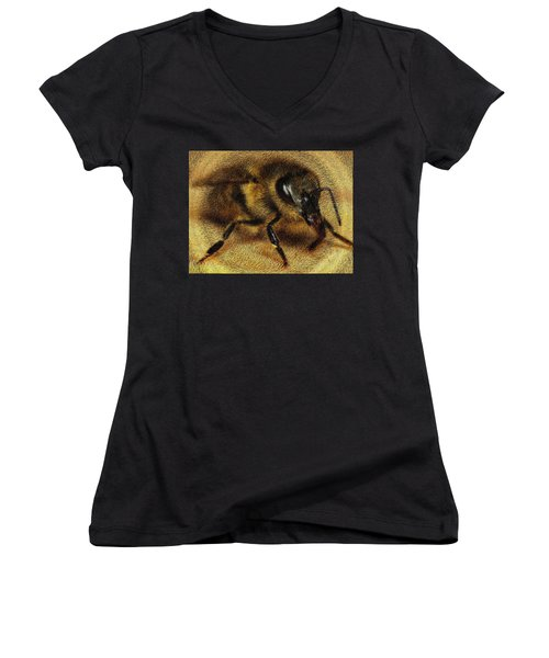The Killer Bee Women's V-Neck T-Shirt (Junior Cut) by ISAW Gallery