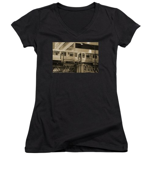 The L Downtown Chicago In Sepia Women's V-Neck (Athletic Fit)
