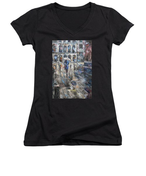 The Lady In Blue Women's V-Neck T-Shirt