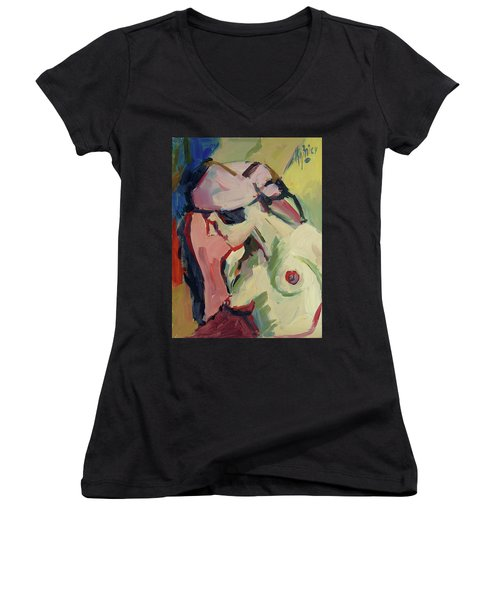 The Lady Without A Pearl Women's V-Neck (Athletic Fit)