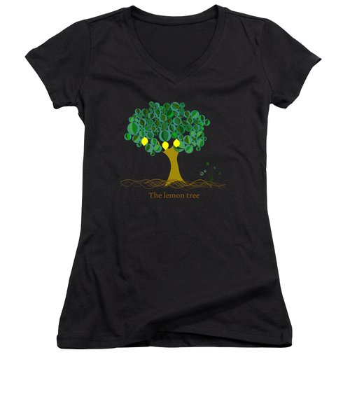 The Lemon Tree Women's V-Neck T-Shirt (Junior Cut) by Alberto RuiZ
