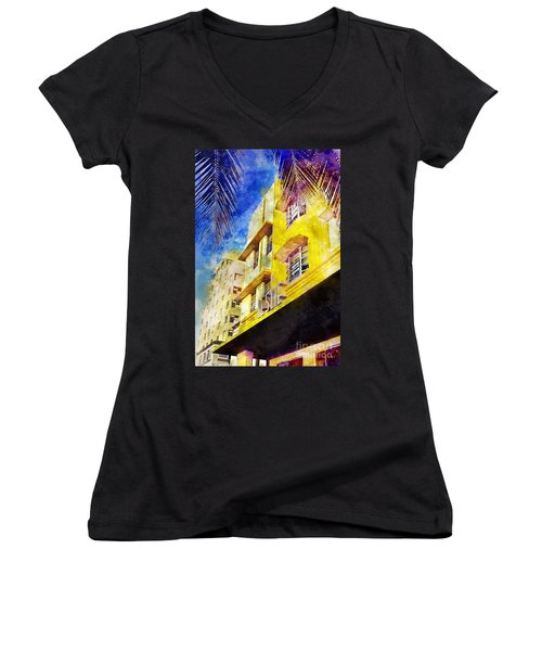 The Leslie Hotel South Beach Women's V-Neck T-Shirt (Junior Cut) by Jon Neidert