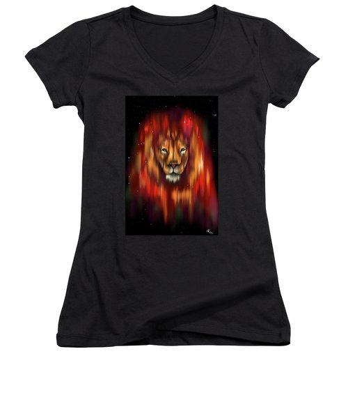 The Lion, The Bull And The Hunter Women's V-Neck T-Shirt