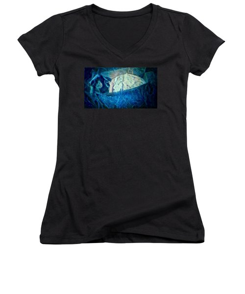 Women's V-Neck T-Shirt (Junior Cut) featuring the digital art The Little Prince Floating In Box On A Sea Of Dreams With Chaotic Swirls And Waves Of Thought Hope Love And Freedom Portrait Of A Boy Sleeping In A Cardboard Box On An Ocean Of Inspiration by MendyZ