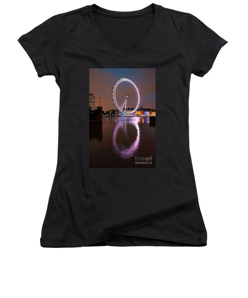 The London Eye Women's V-Neck T-Shirt (Junior Cut) by Nichola Denny