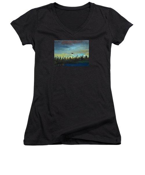 The Loner Women's V-Neck T-Shirt (Junior Cut) by R Kyllo