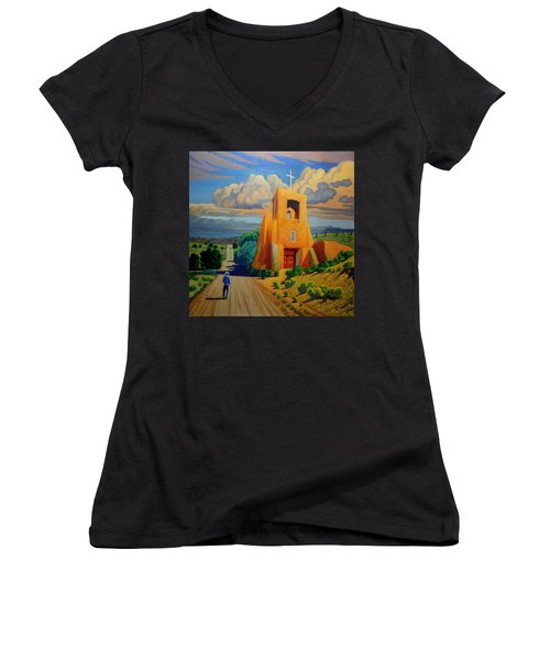 The Long Road To Santa Fe Women's V-Neck T-Shirt (Junior Cut) by Art West