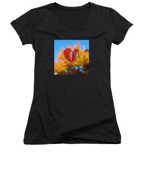 Women's V-Neck T-Shirt (Junior Cut) featuring the photograph The Love Of Fall by Debra Thompson