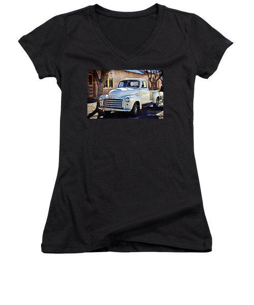 The Magic Of The 1949 Gmc 100 Women's V-Neck T-Shirt (Junior Cut) by Barbara Chichester