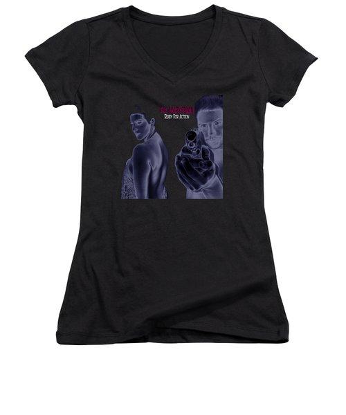 The Marksman - Ready For Action Women's V-Neck T-Shirt (Junior Cut) by Mark Baranowski