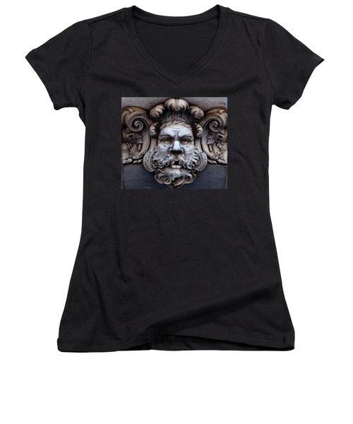 Women's V-Neck featuring the photograph The Mask by Lorraine Devon Wilke