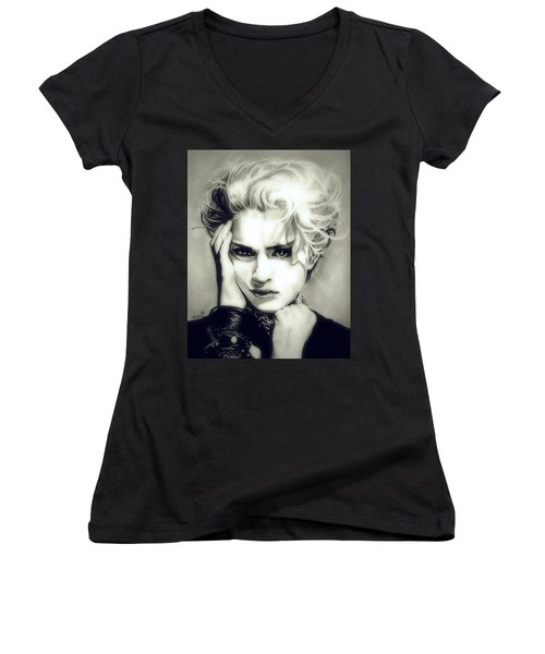 The Material Girl Women's V-Neck T-Shirt (Junior Cut) by Fred Larucci