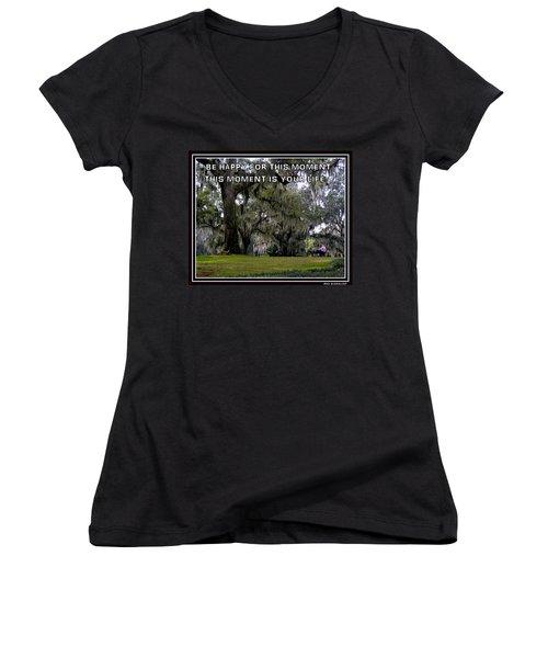 The Moment Women's V-Neck T-Shirt (Junior Cut) by Irma BACKELANT GALLERIES