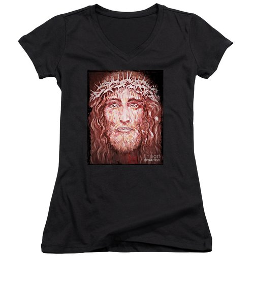 The Most Loved Jesus Christ Women's V-Neck T-Shirt (Junior Cut) by AmaS Art