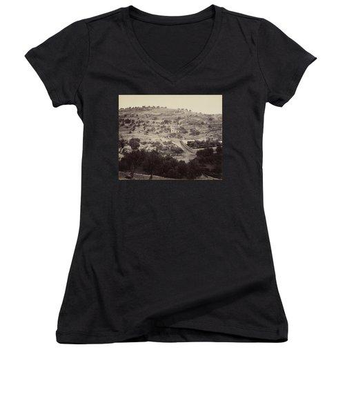 The Mount Of Olives And Garden Of Gethsemane Women's V-Neck