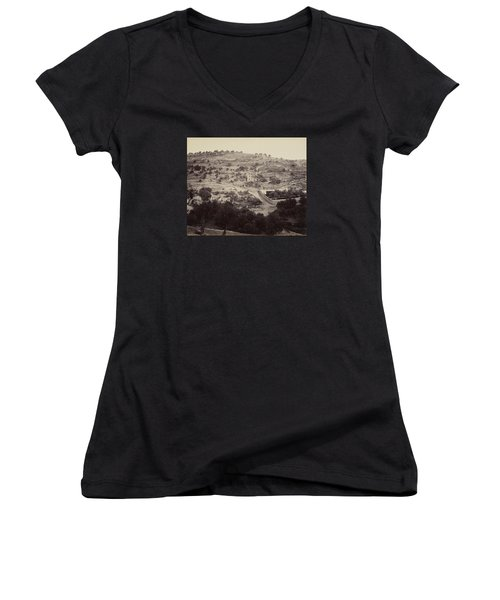 The Mount Of Olives And Garden Of Gethsemane Women's V-Neck