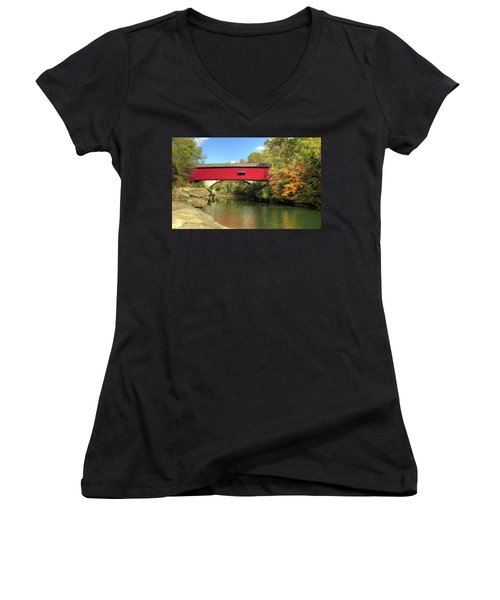 The Narrows Covered Bridge - Sideview Women's V-Neck T-Shirt