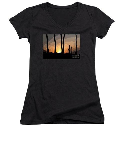 The New Dawn Women's V-Neck T-Shirt (Junior Cut) by Tom Cameron