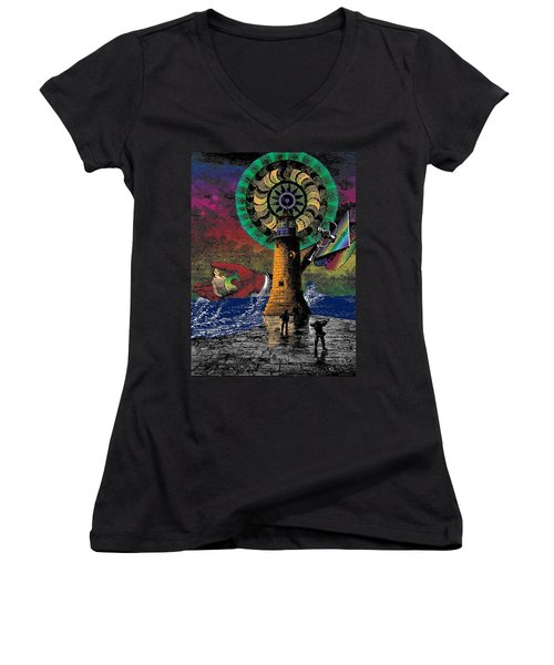 The New Pharos Women's V-Neck T-Shirt (Junior Cut) by Eric Edelman