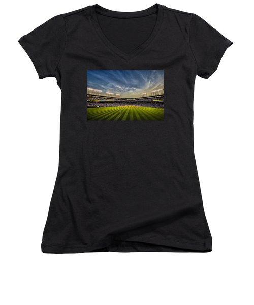 The New Wrigley Field With Pretty Sunset Sky Women's V-Neck