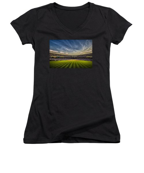 The New Wrigley Field With Pretty Sunset Sky Women's V-Neck