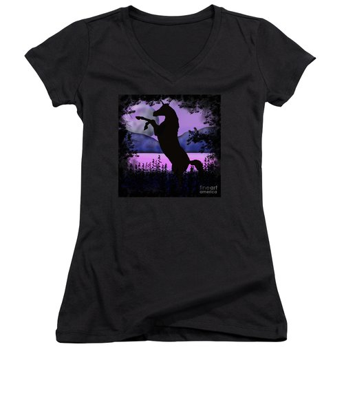 The Night Of The Unicorn Women's V-Neck (Athletic Fit)