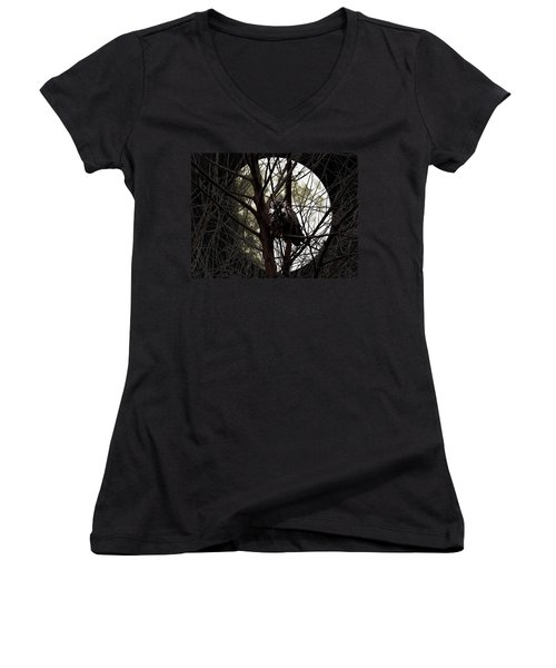 The Night Owl And Harvest Moon Women's V-Neck