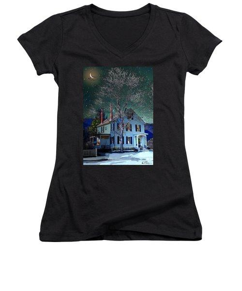 The Noble House Women's V-Neck T-Shirt (Junior Cut) by Nancy Griswold