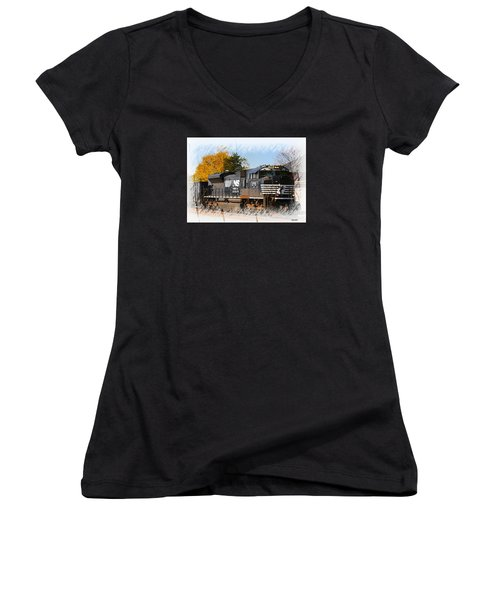 Women's V-Neck T-Shirt (Junior Cut) featuring the photograph The Norfolk Southern by Robert Pearson
