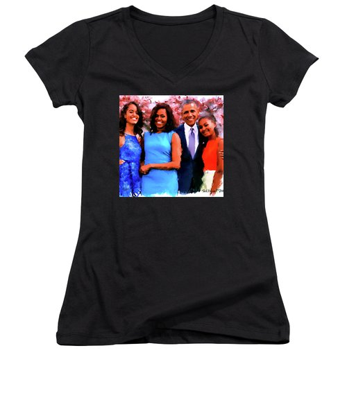 The Obama Family Women's V-Neck T-Shirt (Junior Cut) by Ted Azriel