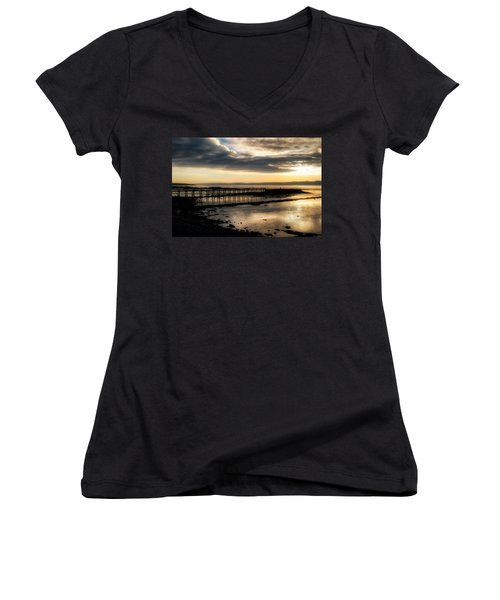 The Old Pier In Culross, Scotland Women's V-Neck (Athletic Fit)
