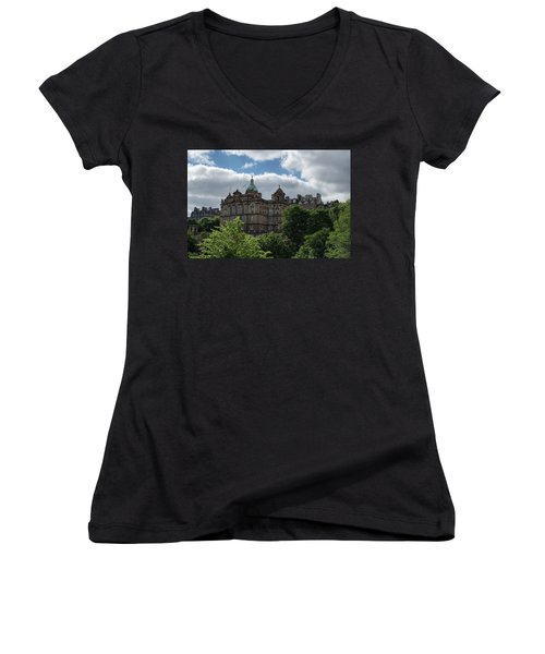 Women's V-Neck T-Shirt featuring the photograph The Old Town In Edinburgh by Jeremy Lavender Photography