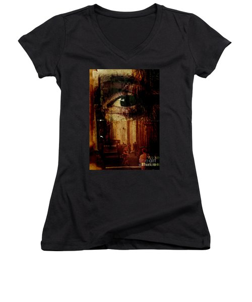 The Overseer Women's V-Neck T-Shirt (Junior Cut) by Michael Cinnamond
