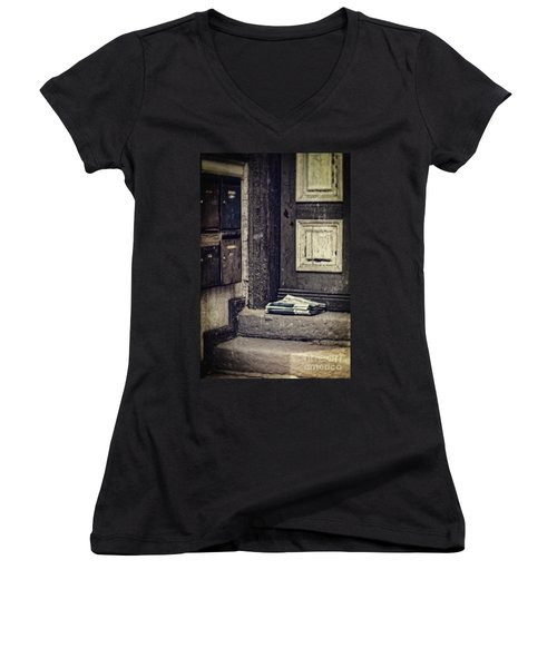 The Paper Boy Was There. Women's V-Neck T-Shirt