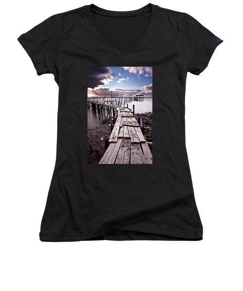 Women's V-Neck T-Shirt (Junior Cut) featuring the photograph The Path by Jorge Maia