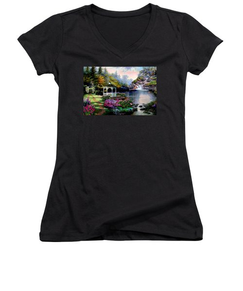 The Path Least Followed Women's V-Neck T-Shirt (Junior Cut) by Ron Chambers