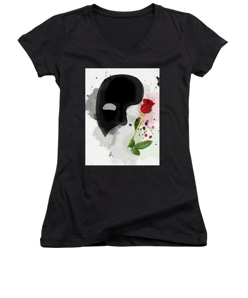 Women's V-Neck featuring the mixed media The Phantom Of The Opera by Dan Sproul