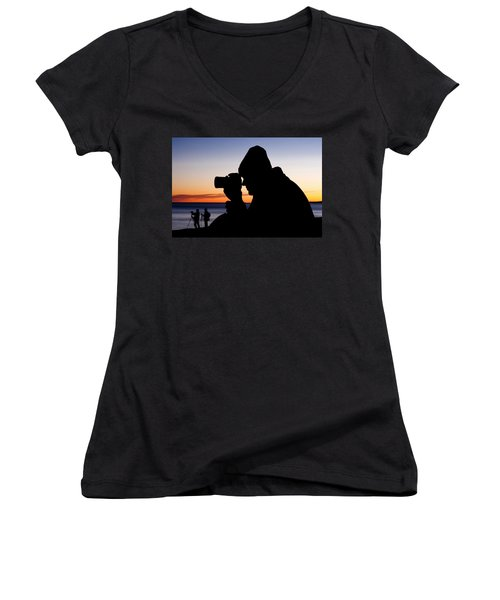 The Photographer Women's V-Neck T-Shirt (Junior Cut) by Greg Fortier