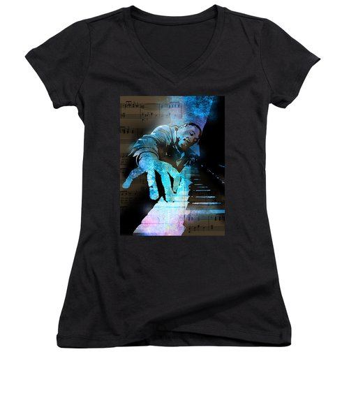 The Piano Man Women's V-Neck (Athletic Fit)